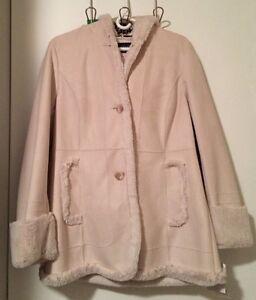 New Jones New York Faux Fur Mid Length Coat Parka Jacket W/ Hood - Bone Color