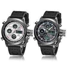 Militär Weiss Schwarz Edelstahl Herren Analog Digital Quarz Gummi Armband Uhr
