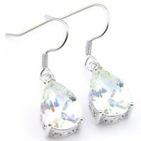 Water Drop Shaped Natural White Fire Topaz Gemstone Silver Dangle Hook Earrings