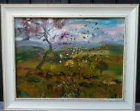 ORIGINAL,SIGNED IMPRESSIONIST Autumnal Landscape, Sunset, Yorkshire Dales.OIL.