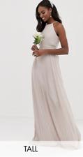 TFNC ASOS Wedding Dress Bridesmaid High Neck Pleated Serene Maxi Dress Mink 16