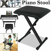 Height Adjustable Pro X Frame Music Keyboar Piano Stool Bench Stand Cushion Seat