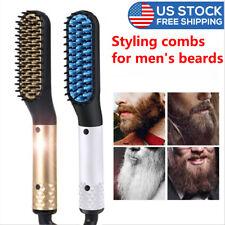 Men's Multifunctional Quick Beard Straightener Hair Comb  Curling Curler Cap USA