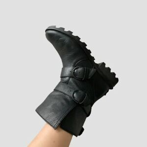 Sorel Phoenix Black Leather Moto Boot Waterproof