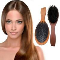Natural Boar Bristle Hair Brush Comb Oval Anti-static Paddle Massage Scalp Decor