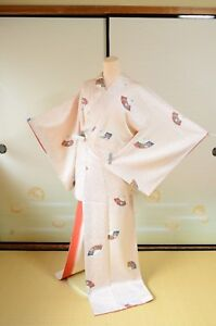 Kimono Komon Silk Women Fan Japanese vintage Geisha Costume  Robe /380