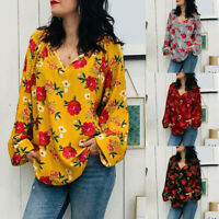 Fashion Women's V-Neck Long Sleeve Tops Blouse Shirt Floral Print Loose T Shirt