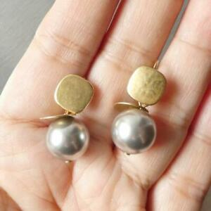 Marjorie Baer Rounded Square with Flat Disc and Grey Pearl Earrings Modern Edgy