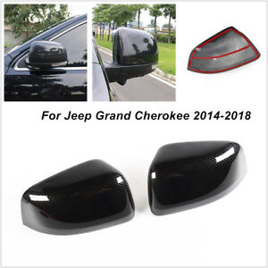 2X Carbon Fiber ABS Rearview Mirror Cover Fit For Jeep Grand Cherokee 2014-2018