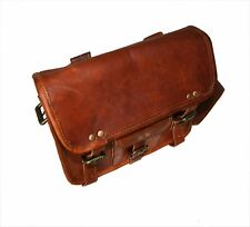 Genuine Leather Handmade Brown Messenger Shoulder Bag Backpack Retro Vintage