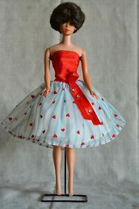 Vintage Barbie Clone Dress Flocked Hearts and Rhinestones, 60s