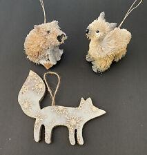 Lot Of 3 Christmas Ornaments White Silver Woodland Bottlebrush Wood Animals Fox