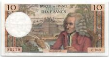 Billets de 10 francs français sur Voltaire
