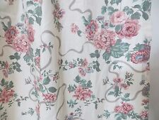 Croscill Curtain Single Panel 58x57 Victoria Elizabeth Gray Ribbon Roses Lace