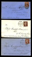 RAILWAY GB QV PENNY REDS 1871-2 MANCHESTER SHEFFIELD LINCOLNSHIRE ENVS 3 COLOURS