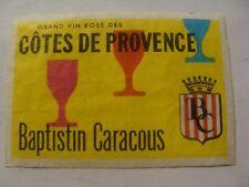 Etiquette allumette - Vins BAPTISTIN CARACOUS - Côtes de Provence - (220)