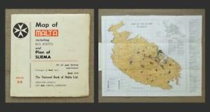 1960's MALTA MAP with BUS ROUTES - Inset PLAN of SLIEMA