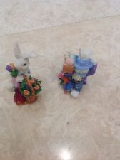 Easter Figurines (2) Boy And Girl Bunny Resin 3 1/2 Inches Tall New