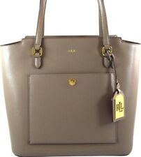 f958a9e920b2 Ralph Lauren Tote Handbag Bag leather purse taupe Lowell pocket Nwt $198