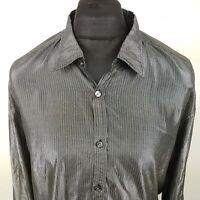 HUGO BOSS Mens Disco Shirt Shiny 2XL Long Sleeve Silver SLIM FIT Striped