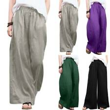 Womens Wide Leg Loose Trousers Elastic Waisted Harem Pants Casual Palazzo Baggy