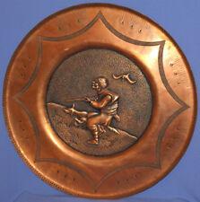 Vintage hand made wall decor copper plaque hunter & dog