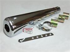 OVAL chrome mégaphone silencieux idéal pour Yamaha XT500 café racer (bsa111)