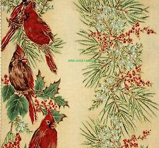 1YD Winter Wonderland CARDINAL PINECONE CEDAR Cream Metallic Stripe Quilt Fabric