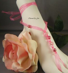 New HOT PINK Wedding Beach Bridal Czech Glass & Pearl Ribbon Barefoot Sandals