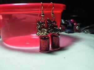 Twilight Vampire Bat Red  Wish  Bottle Earrings Free Organza Bag