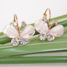 Navachi Butterfly White Wings 18K Gold GP Crystals Leverback Earrings BH1145