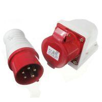 16 Amp 5 pin Plug & Socket Weatherproof IP44 3 Phase 380-415v 3P + N + Eart R6E9