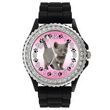 Chartreux Katze Strass Damenuhr mit Silikonarmband SG1803