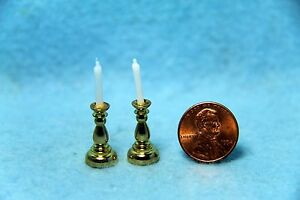 Dollhouse Miniature Brass Candlestick Pair with Candles  BL438