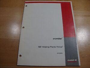 Case IH Crumbler operators set up manual parts catalog Nov. 1999