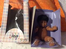 """Syndee's Crafts 1990 Ethnic Doll , named """"Jaya""""  NEW IN PACKAGE 7.5"""" Sitting"""