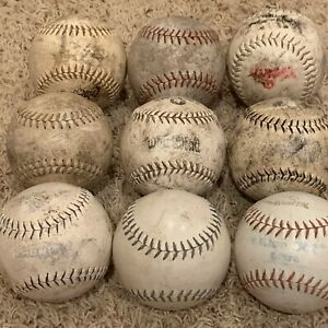"""Large Lot of 9 White 12"""" Practice Training Fastpitch Slowpitch Softballs"""