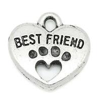 Liebe 30 Charm Anhänger für Armband Kette Tranchier Herz Hundpfote 15x15mm