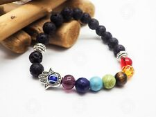 7 Chakra Hand of Fatima/god Bracelet Energy Hamsa Lave Stone Agate Healing UK