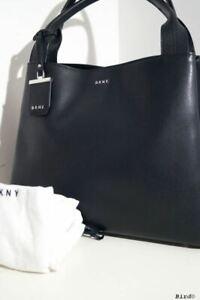 DKNY BLACK LEATHER HANDBAG SHOULDER TOTE BAG NEW!!!