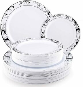 """50 Luxury Disposable Plastic Plates - Set of 25 x 10.25""""' and 25 x 7.5"""" plates"""