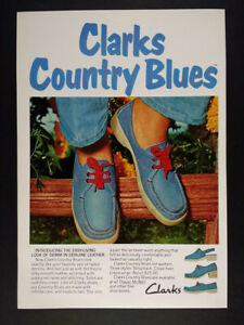 1974 Clarks Country Blues Denim-look Shoes vintage print Ad
