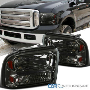 For Ford 05-07 F250 F350 F450 F550 SuperDuty 05 Excursion Smoke Headlights Lamps