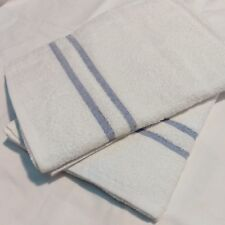 WHITE HOTEL SPA GYM LEISURE CLUB BATH TOWELS A GRADE SIZE 70x135CM 2 BLUE BAR