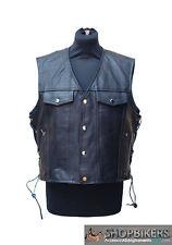 Gilet Uomo Warrior Pelle Nero Laccetti Leather Vest Black Biker Moto TG. S