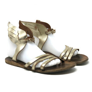 Ancient Greek Women's Sandal Ikaria Wing Sandal Size 9 Platinum Leather