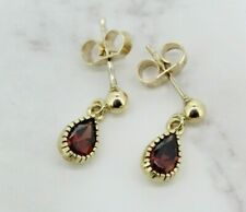 9ct Yellow Gold Garnet Drop/Dangle Earrings