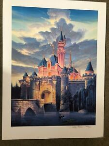 Disneyland Gallery coa 448/1000 Sleeping Beauty Castle Lithograph Randy Souders