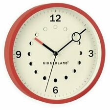 Kikkerland LUNARIS WALL CLOCK Moon Phases 20cm diam Silent Sweep RED