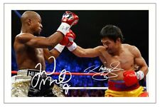 FLOYD MAYWEATHER & MANNY PACQUIAO SIGNED PHOTO PRINT AUTOGRAPH BOXING